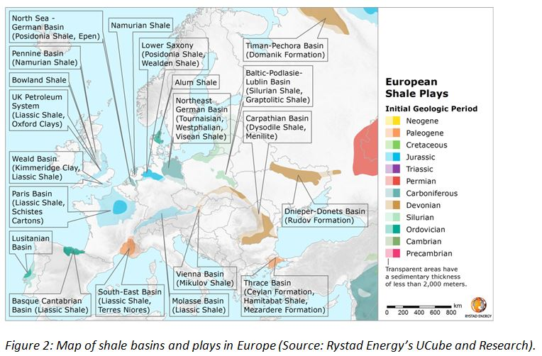 Geologic Map Of Europe.Mapping Shale Potential In Europe