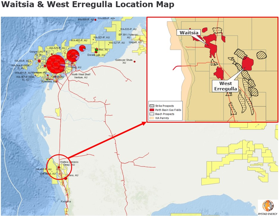 Waitsia West Erregulla location map Australia Strike prospects Perth Basin gas fields Beach Prospects WA Permits Rystad Energy December 2019