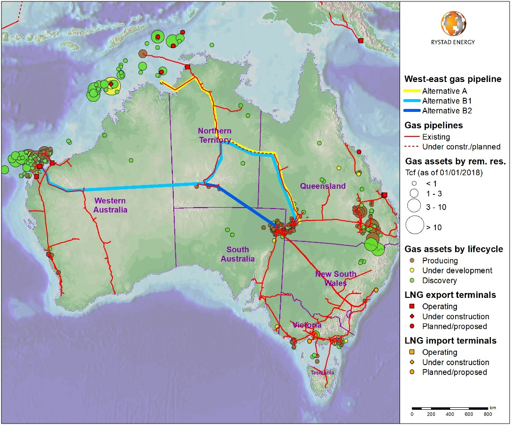 A map showing the West-east gas pipeline