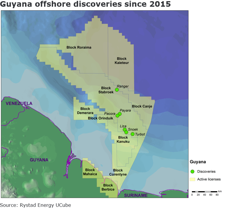 A map showing Guyana offshore discoveries since 2015.Source: Rystad Energy UCube